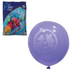 """Шары воздушные 10"""" (25 см), комплект 100 шт., 12 цветов металлик, 8 рисунков, в пакете"""