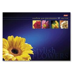 """Альбом для рисования, 40 л., HATBER, склейка, выборочный лак, 120 г/м2, """"Магия цветов"""", 40А4вмВк 07347"""