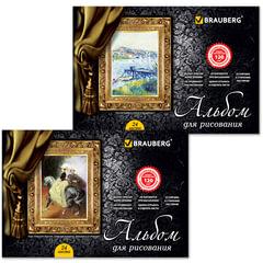"""Альбом для рисования, 24 л., BRAUBERG, гребень, обложка мелов. картон, выб. лак, 120 г/м2, """"Великие художники"""", 2 вида"""