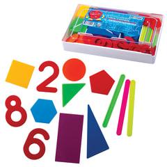 """Касса цифр и счетных материалов СТАММ """"Учись считать"""", 122 элемента и счетные палочки 20 шт."""