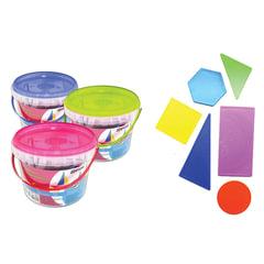 """Счетные материалы СТАММ """"Геометреческая мозаика"""", прямоугольники, квадраты, круги, шестиугольники, треугольники, пластиковое ведро"""