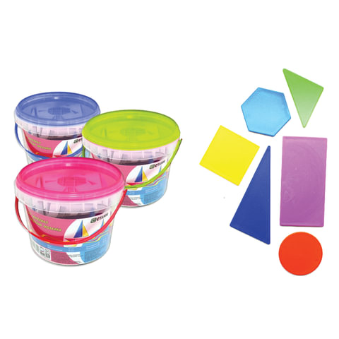 """Счетные материалы СТАММ """"Геометрическая мозаика"""", прямоугольники, квадраты, круги, шестиугольники, треугольники, пластиковое ведро"""