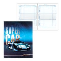 """Дневник для 1-4 классов, твердый, BRAUBERG (БРАУБЕРГ), выборочный лак, """"Спортивный автомобиль"""""""