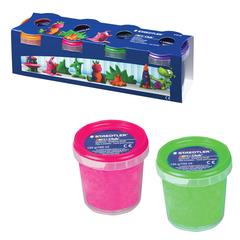 Пластилин на растительной основе (тесто для лепки) STAEDTLER, 4 цвета, 520 г, (оранжевый, розовый, зеленый, фиолетовый)