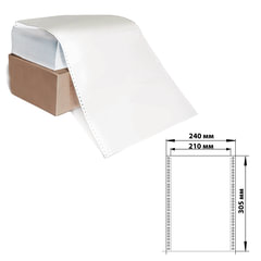 """Бумага с отрывной перфорацией, 240х305(12"""")х2000 (1600 л.), плотность 65 г/м2, белизна 98%, STARLESS"""