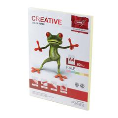 Бумага CREATIVE color (Креатив), А4, 80 г/м2, 100 л., пастель желтая