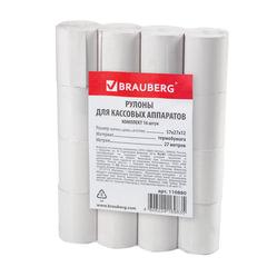 Рулоны для кассовых аппаратов, термобумага, 57х27х12 (27 м), комплект 16 шт., гарантия намотки, BRAUBERG