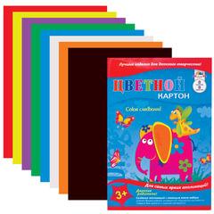 Цветной картон, А4, 8 листов, 8 цветов, лакированная обложка, АППЛИКА, 205х290 мм