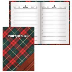 """Ежедневник BRAUBERG (БРАУБЕРГ) полудатированный на 4 года, А6+, 125х170 мм, """"Шотландка"""", 208 л., ламинированная обложка"""