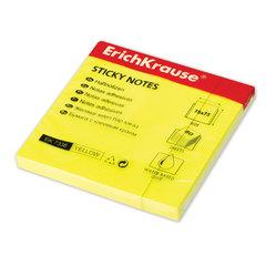 Блок самоклеящийся (стикер) ERICH KRAUSE НЕОН, 75х75 мм, 80 листов желтый