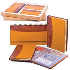 "Набор GALANT ""Президент"" (ИТАЛИЯ-РОССИЯ): ежедневник А5, планинг, телефонная книга А5, визитница на 72 визитки; комб. рыж/горч."