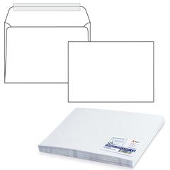 Конверт С4, комплект 50 шт., отрывная полоса STRIP, белый, 90 г/м2, 229х324 мм