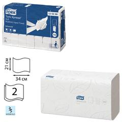 Полотенца бумажные, 136 шт., TORK (Система H2) Advanced, комплект 21 шт., 2-слойные, белые, 21х34, Interfold, 120288