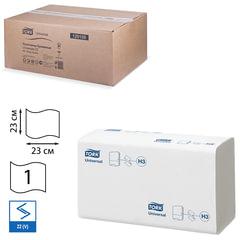 Полотенца бумажные 250 шт., TORK (Система H3) Universal, комплект 20 шт., натуральные белые, 23х23, ZZ(V), 120108