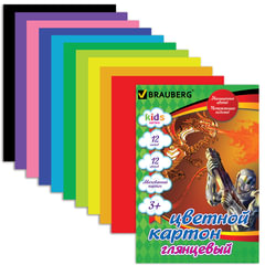 """Цветной картон, А4, мелованный, 12 цветов, 200 г/м2, BRAUBERG """"Сила дракона"""", 200х290 мм"""