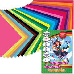 """Цветная бумага, А4, мелованная, 24 листа, 24 цвета, BRAUBERG """"Kids series"""", """"Чародейка"""", 200х280 мм"""