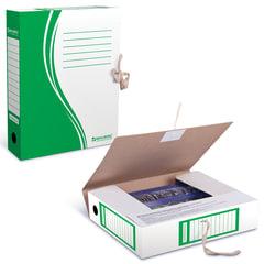 Накопитель документов, папка с завязками BRAUBERG, 75 мм, 2 х/б завязки, зеленый, до 700 л.