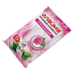 Салфетки влажные, 15 шт., ЛАЙМА, универсальные очищающие, с ароматом розы