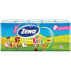 Платки носовые ZEWA Kids, 3-х слойные, 10 шт. х (спайка 10 пачек)