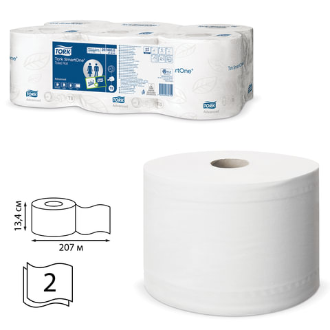 Бумага туалетная 207 м, TORK (Система T8) SmartOne, комплект 6 шт., Advanced, 2-слойная, белая, 472242