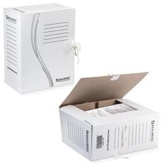 Накопитель документов, папка с завязками BRAUBERG, 150 мм, 2 х/б завязки, белый, до 1400 л.