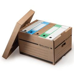 Короб архивный BRAUBERG (БРАУБЕРГ), 26,5x40,5x33 см, надстраиваемый, с крышкой, картон, бурый