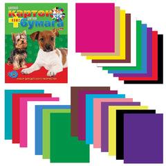 """Цветная бумага и цветной картон, А4, склейка, 16+10, HATBER VK, """"Щенки"""", 195х275 мм, 26НКБ4к 05284"""