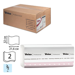 Полотенца бумажные 150 шт., VEIRO (Система F2), комплект 21 шт., Premium, 2-слойные, белые, 32х21,6, W, KW309