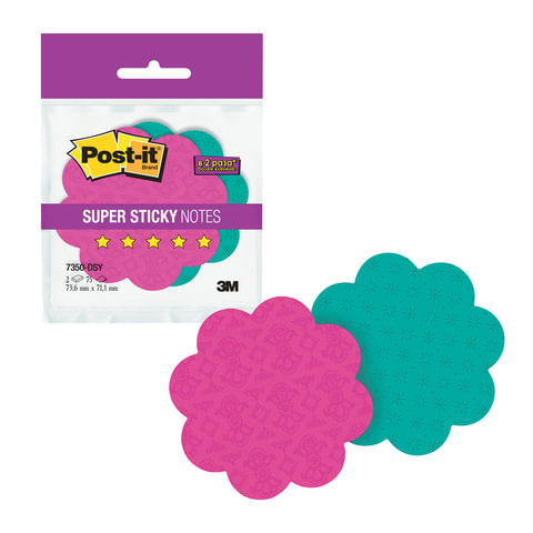 """Блоки самоклеящиеся (стикеры) POST-IT Super Sticky, комплект 2 шт., """"Цветы"""", 75 л., ассорти"""