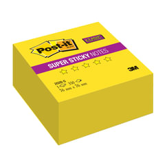 Блок самоклеящийся (стикер) POST-IT Super Sticky, 76х76 мм, 350 л., неоновый желтый