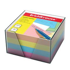 Блок для записей ERICH KRAUSE в подставке прозрачной, куб, 9х9х5 см, цветной