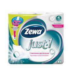 Бумага туалетная бытовая, спайка 4 шт., 4-х слойная (4х12,3 м), ZEWA Just 1, белая