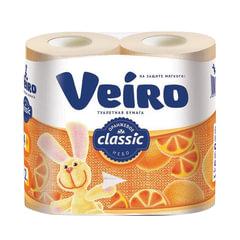 Бумага туалетная бытовая, спайка 4 шт., 2-х слойная (4х17,5 м), VEIRO Classic, оранжевая