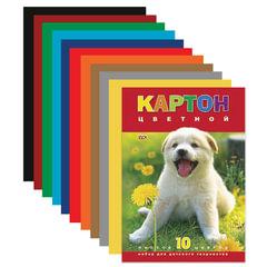 """Цветной картон, А4, 195х290 мм, HATBER VK, мелованный, 10 листов, 10 цветов, """"Белый щенок"""", 10Кц4 03414"""