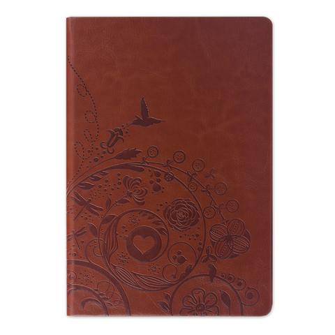 "Бизнес-блокнот BRAUBERG, А5, 148х218 мм, ""Feelings"", кожзаменитель с тиснением, линия, 128 л., коричневый"