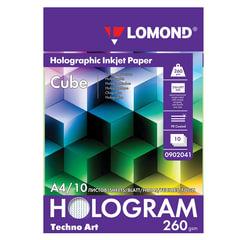 """Дизайн-бумага LOMOND с голографическими эффектами (""""куб""""), А4, 260 г/м2, 10 листов, односторонняя"""