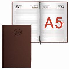 """Ежедневник датированный 2018, А5, BRAUBERG """"Favorite"""", """"фактурная кожа"""", коричневый, 138х213 мм"""