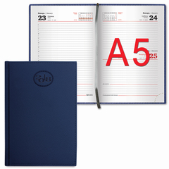 "Ежедневник датированный 2018, А5, BRAUBERG ""Favorite"", ""фактурная кожа"", темно-синий, 138х213 мм"