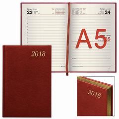 """Ежедневник датированный 2018, А5, BRAUBERG """"Iguana"""", """"змеиная кожа"""", кремовый блок, золотой срез, красный, 138х213 мм"""