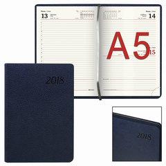 """Ежедневник датированный 2018, А5, BRAUBERG """"Stylish"""", интегральная обложка, цветной срез, темно-синий, 138х213 мм"""