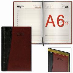 """Ежедневник датированный 2018, А6, BRAUBERG """"Cayman"""", комбинированный, кремовый блок, золотой срез, черный/коричневый, 100х150 мм"""
