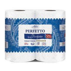 Бумага туалетная бытовая, спайка 4 шт., 5-и слойная (4х22,5 м), ASTER Perfetto by Perfetto, белая, 18054РР