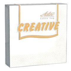 """Салфетки бумажные, 20 шт., 25х25 см, 3-х слойные, ASTER """"Creative"""", белые, 100% целлюлоза, арт. 00998/15"""