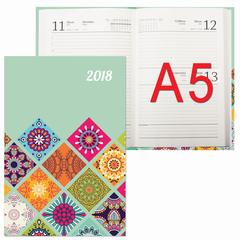 Ежедневник датированный 2018, А5, обложка 7БЦ, орнамент, 160 л., 145х215 мм, BRAUBERG