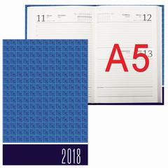 Ежедневник датированный 2018, А5, обложка 7БЦ, синий, 160 л., 145х215 мм, BRAUBERG