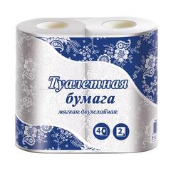 Бумага туалетная бытовая, спайка 4 шт., 2-х слойная (4х15 м), белая