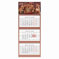"""Календарь квартальный на 2018 г., HATBER, Люкс, 3-х блочный, на 3-х гребнях, """"Год собаки"""", 3Кв3гр2 16872"""