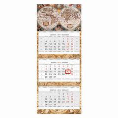 """Календарь квартальный на 2018 г., HATBER, Люкс, 3-х блочный, на 3-х гребнях, """"Старинная карта"""", 3Кв3гр2 14500"""