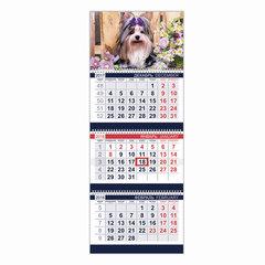 """Календарь квартальный на 2018 г., HATBER, Офис, 3-х блочный, на 3-х гребнях, """"Год собаки"""", 3Кв3гр3 16145"""
