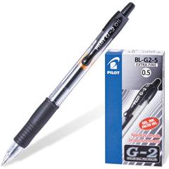 """Ручка гелевая автоматическая PILOT """"G-2"""", корпус прозрачный, узел 0,5 мм, линия 0,3 мм, резиновый упор, черная"""